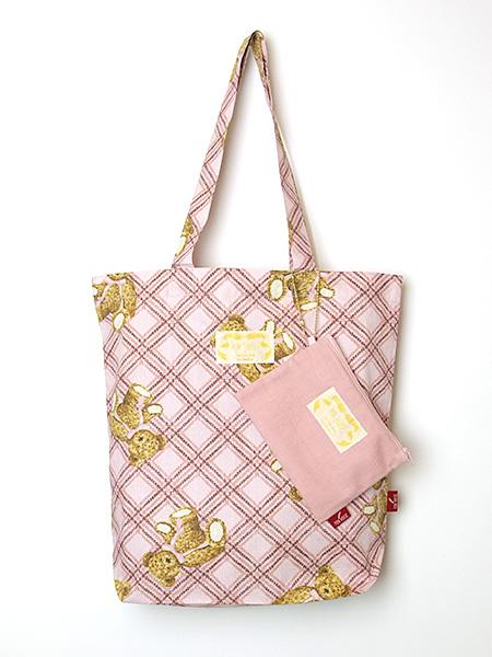 ☆PINK HOUSE×misako&erinko☆ ピンクリトルテディプリントトートバッグ