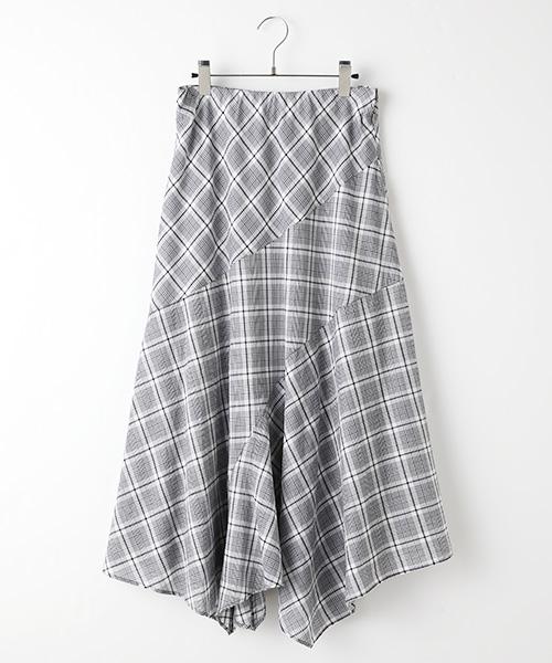 ローンチェックイレギュラーヘムスカート