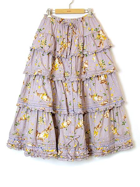 ミミ・モザ・ラビットプリントスカート