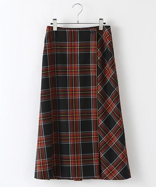 オリジナルチェックウールラップ風スカート
