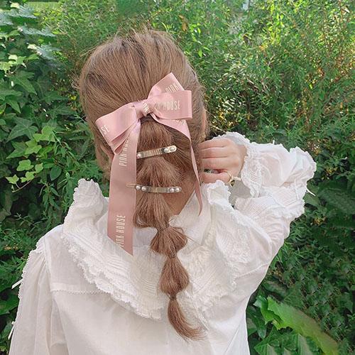 ★#OLDPINKHOUSE★ ロゴプレートヘアピン