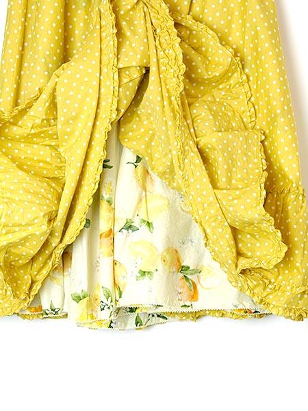 レモン&水玉プリントリバーシブルスカート