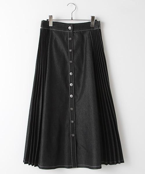 【EC先行販売】サイドプリーツデザインフレアーデニムスカート