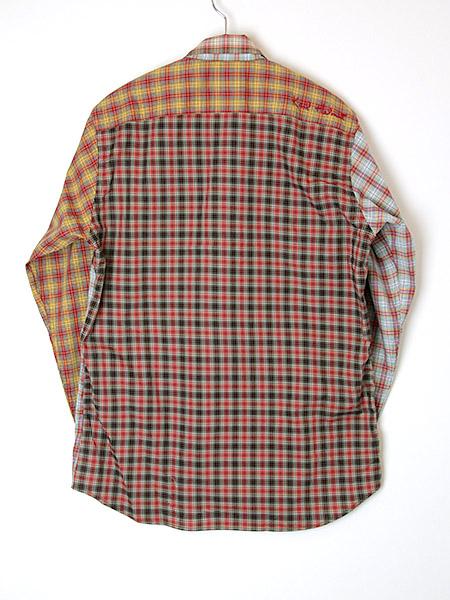 オリジナルチェックパッチワークシャツブラウス
