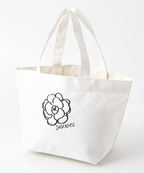 カメリア&ロゴポイント帆布トートバッグ