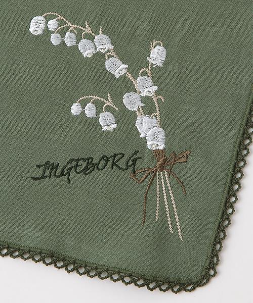 スズラン刺繍トリプルガーゼミニハンカチ