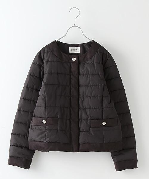 超高密度タフタノーカラー中綿ジャケット