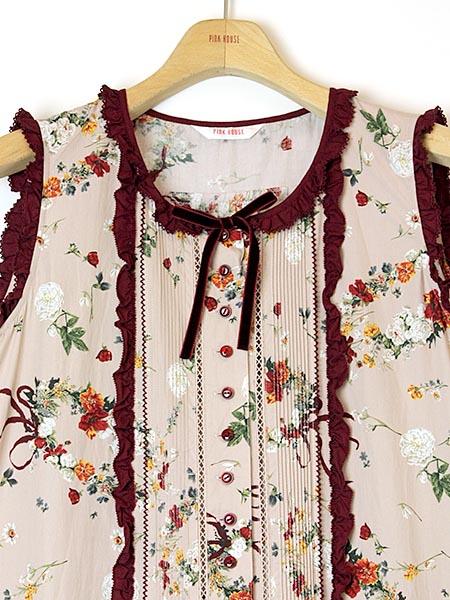 オフィーリアの花飾りプリントワンピース