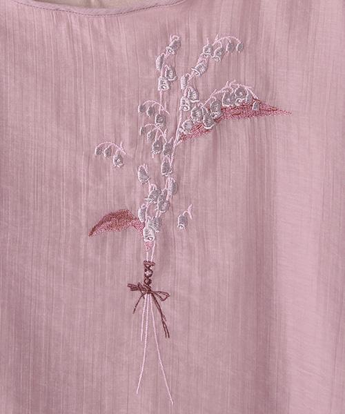 スズラン刺繍ポイントカットソー