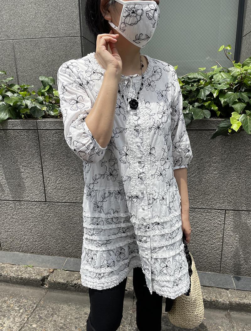 【EC先行販売】Cローンフラワー刺繍マスク&マスクケース