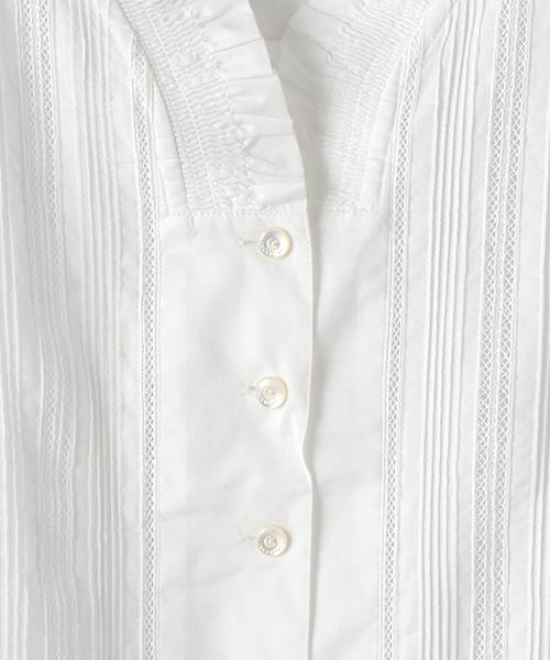 シャーリングフリル襟ブラウス