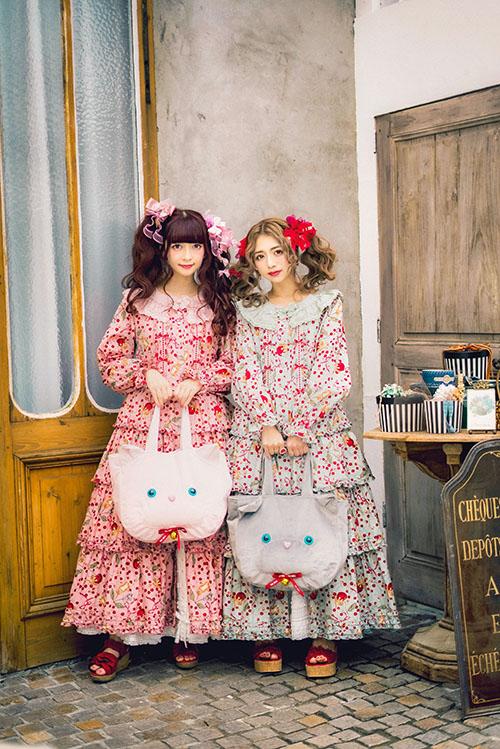 PINK HOUSE×MISAKO&ERINKOキャットチェリードロッププリントワンピース
