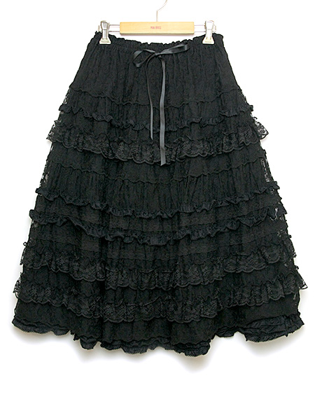 綿糸チュールレーススカート