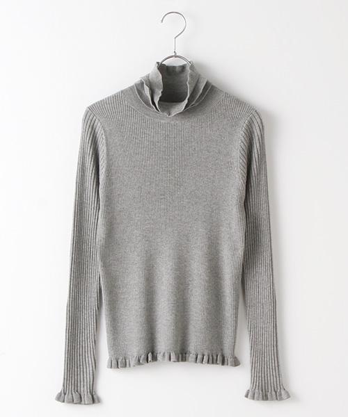 リブフリルタートルネックセーター