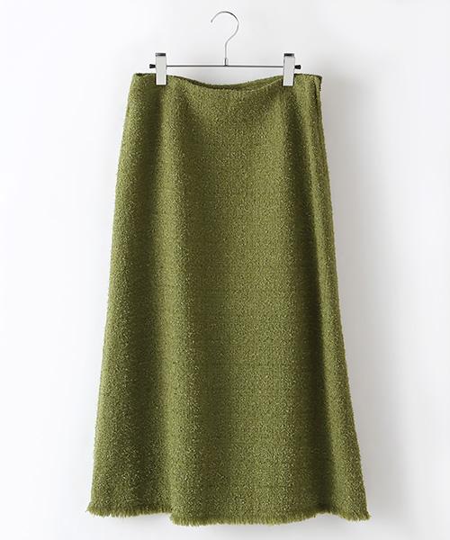グラスツイードセミフレアースカート