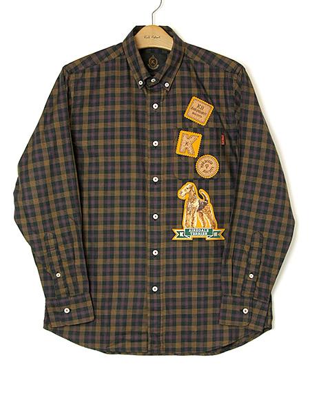 エアデールテリアワッペン付きミニチェックシャツ