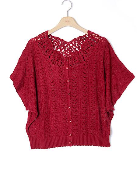 【OUTLET】<50%off> フラワーモチーフ編みこみ2WAYカーディガン