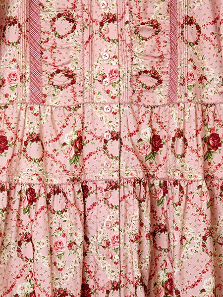 薔薇模様プリントワンピース