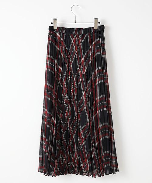 ボイルチェックプリーツスカート
