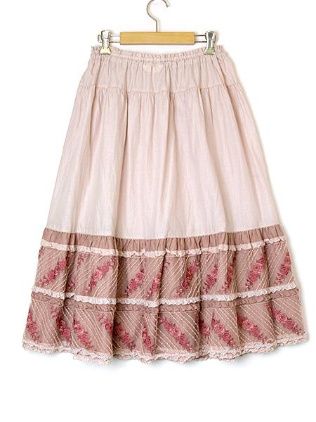 ローズフローレース使いスカート