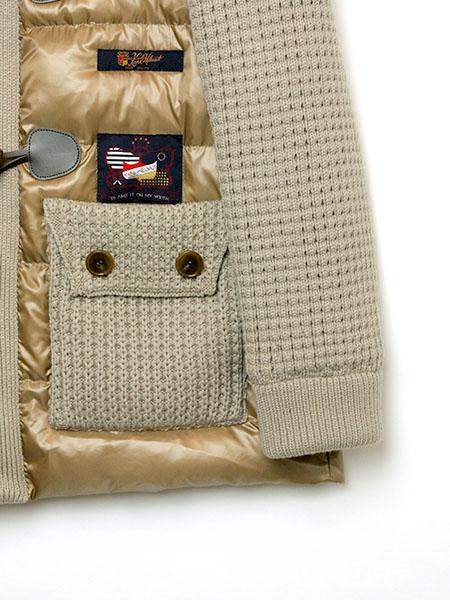 ニット使いコンビ中綿コート