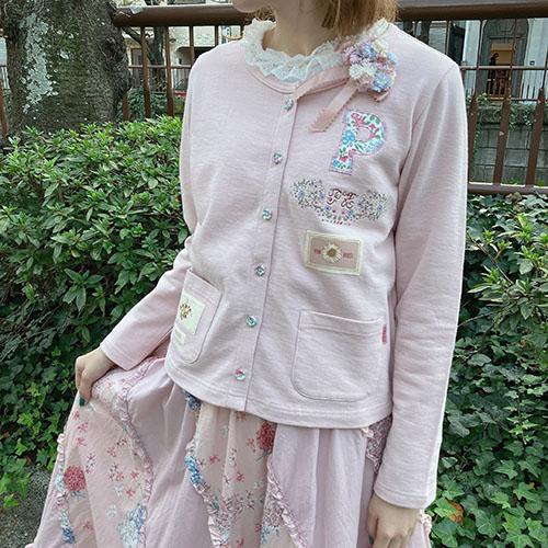 芝桜の手まりうたプリントパッチワークスカート