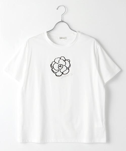 カメリア&ロゴワンポイントT-シャツ
