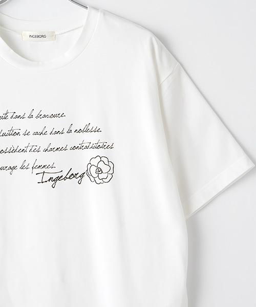 ロゴ&カメリアプリントオフショルダースタイルカットソー