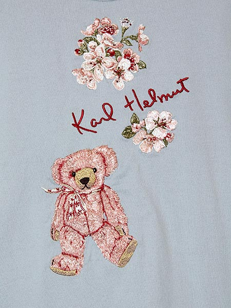 桜テディ刺繍入りカットソー