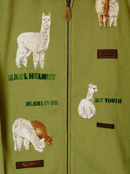 アルパカ刺繍パーカー