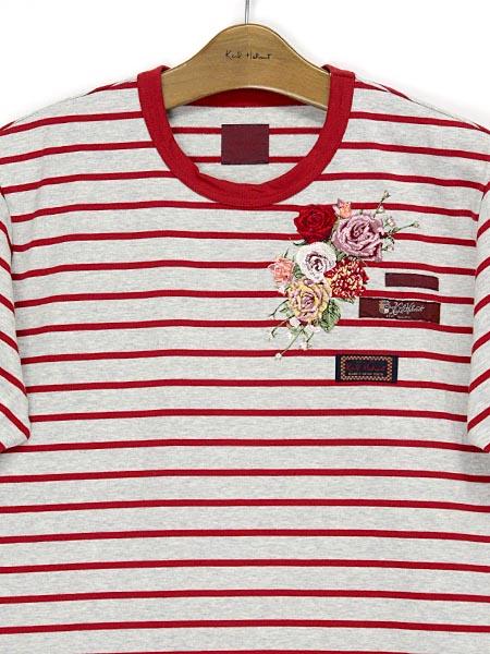 エンジェルローズ刺繍ボーダーTシャツ