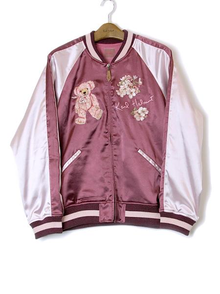 桜テディ刺繍入りスカジャン