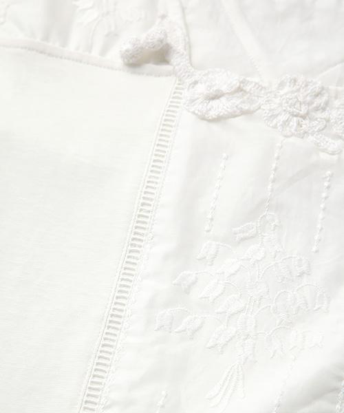 フラワーモチーフ&すずらん刺繍ノースリーブクールカットソー