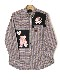 桜テディ刺繍入りパッチワークシャツブラウス