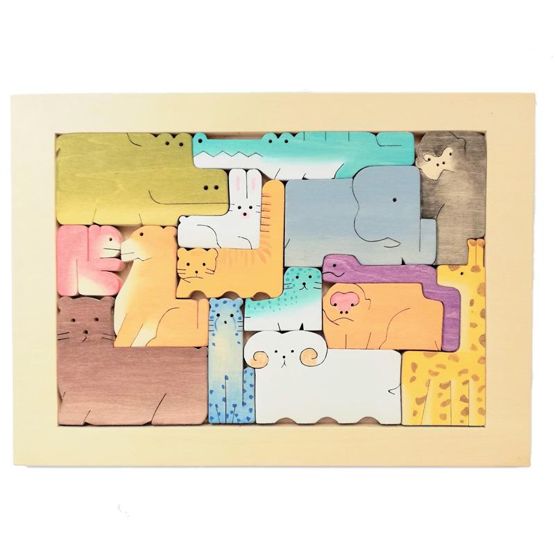 15匹のアニマル パズル(147-40) byあしたば作業所