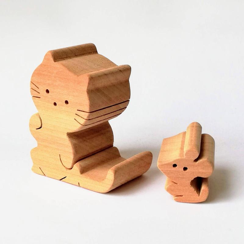 子猫とネズミ 組木 小(226-03) 大(226-05) byあしたば作業所