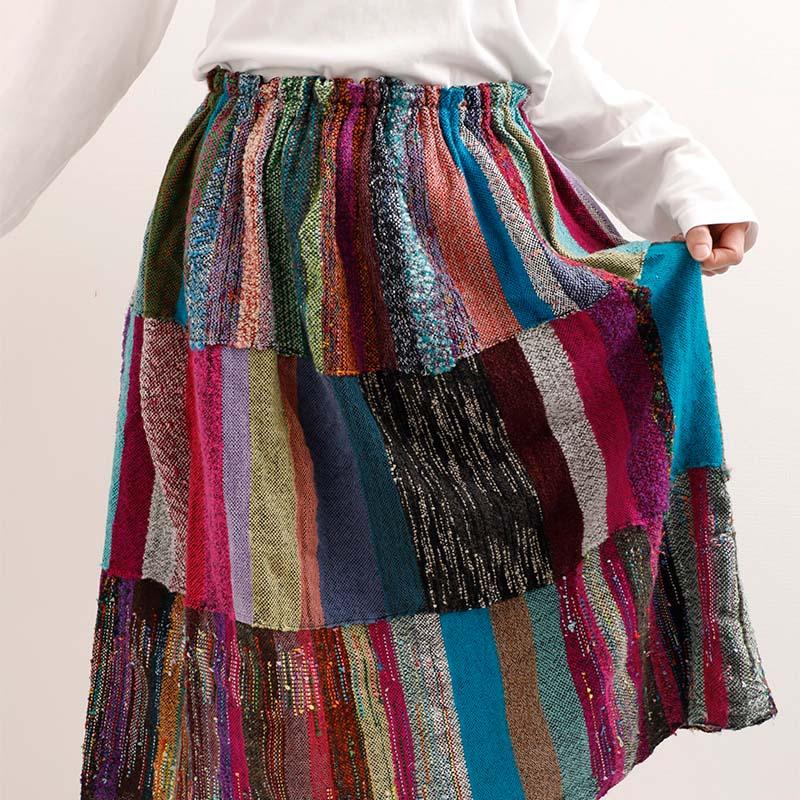 【母の日ギフト対応】さをりギャザー入り3段スカート by われもこう