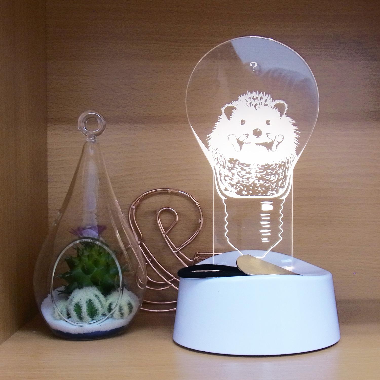 LEDアクリルスタンドライト【ハリネズミ】 (ART-WT-03)