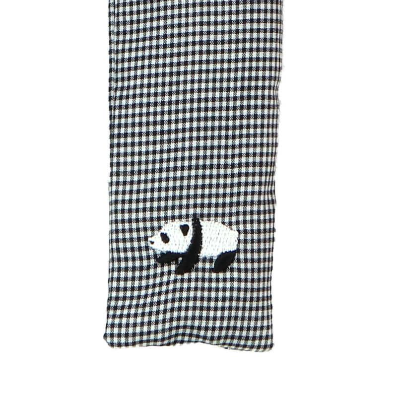 扇子ケース / アニマル刺繍 / パンダブラック