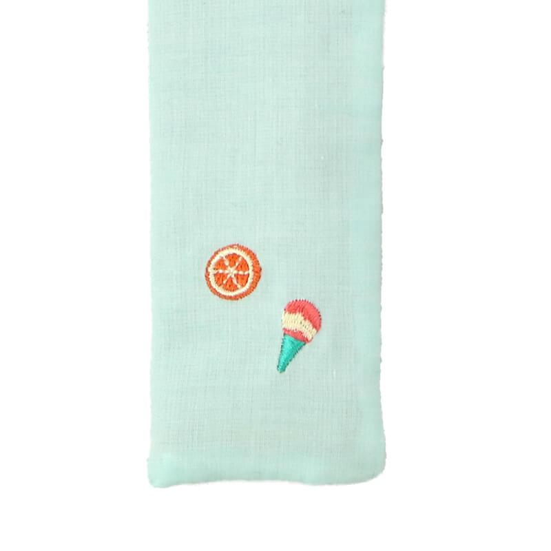 扇子ケース / トロピカル刺繍 / アイスミント