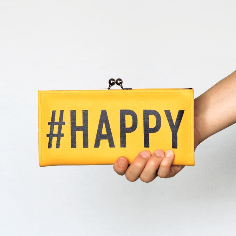 長財布 / ハッシュタグプリント / #HAPPY [PPP]