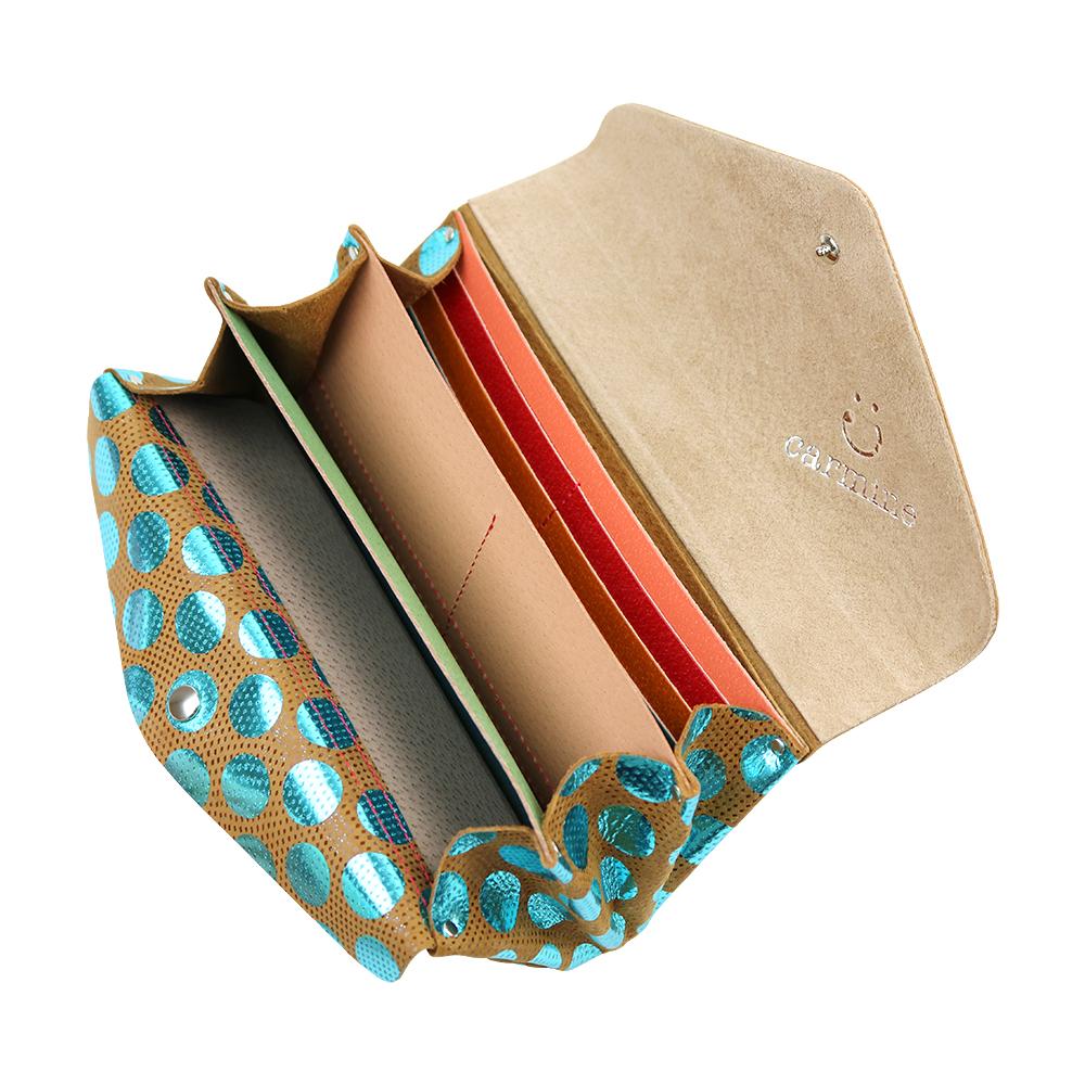 Long Wallet / Dot Leather / ブルー [carmine]
