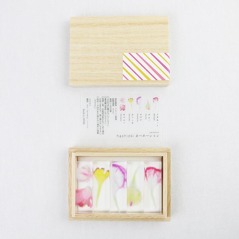 hashioki 5個セット / 押花 / カーネーション [toumei]