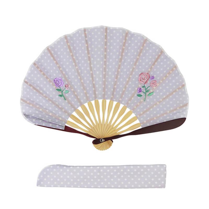 扇子 / ドット刺繍シェル扇子セット / ばら