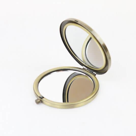 刺繍コンパクトミラー / ツインズブラック [ACHOO]