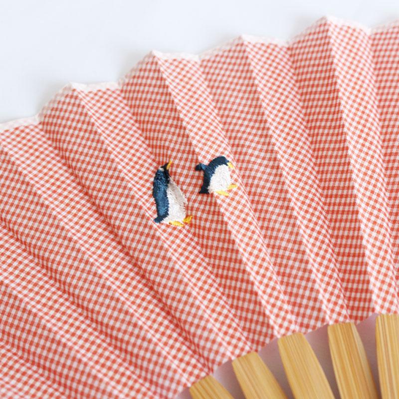 扇子 / アニマル刺繍扇子 / ペンギンピンク