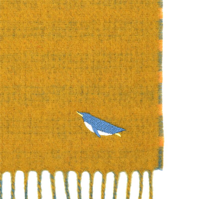 マフラー / アニマル刺繍 / ペンギンイエロー