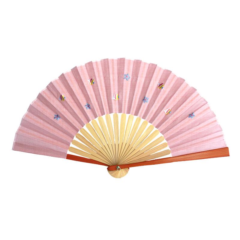 扇子 / トロピカル刺繍扇子 / サカナオレンジ