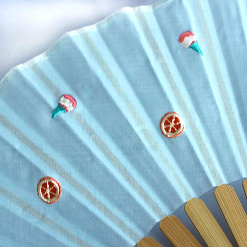 扇子 / トロピカル刺繍扇子 / アイスミント