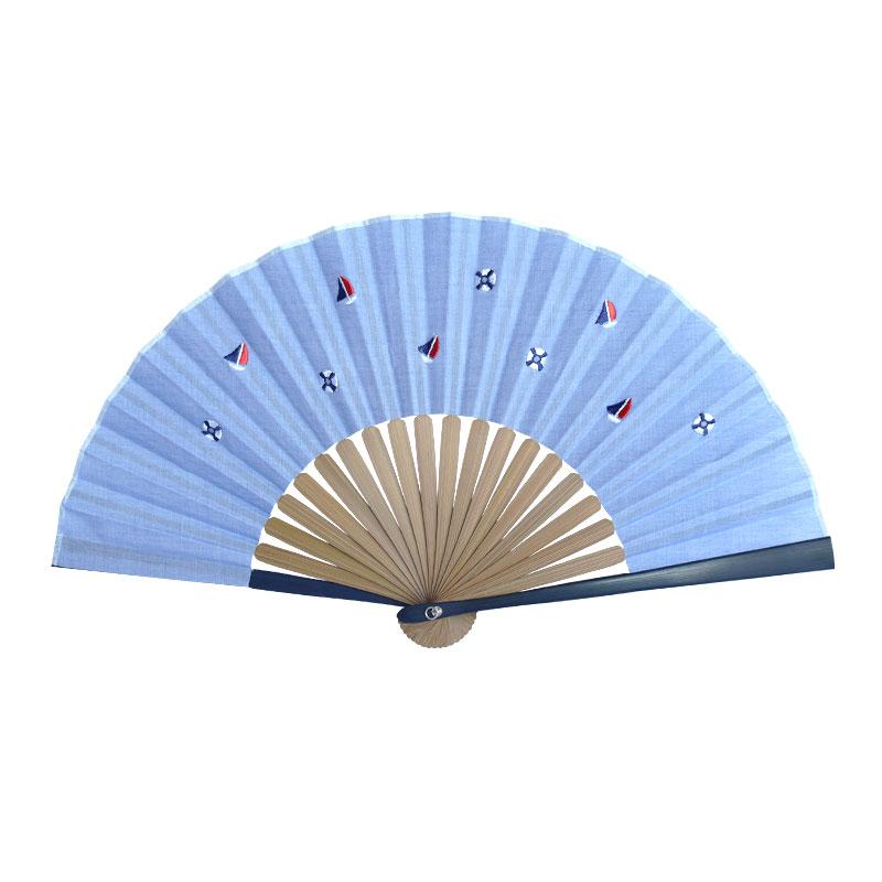 扇子 / トロピカル刺繍扇子 / ヨットブルー
